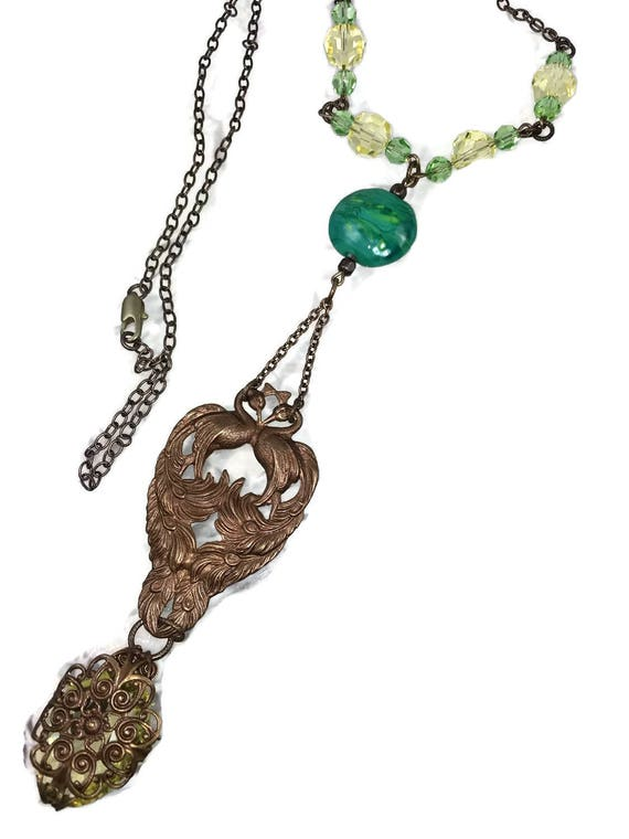 Peacock necklace on long brass chain. Vintage glass Pendant.