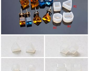 One Pair Silicone Mold For Epoxy Blanks - DIY Epoxy Resin Earring - Cube - Triangle - Faceted - Cat - Stud Earring