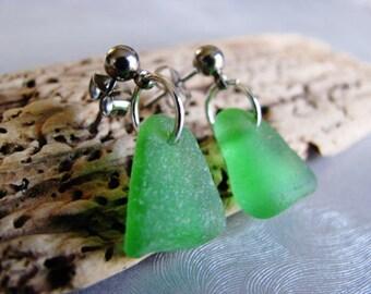 Sea Glass Stud Earrings - Surgical Steel - Kelly Green Post Earrings - Ocean Jewelry Gifts of the Sea - Genuine Kelly Green Sea Glass