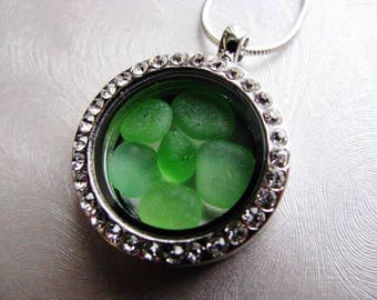 Reversible Sea Glass Locket - Kelly Green - Sea Glass Necklace - Unique jewelry - Beach Glass Jewelry - Pure Ocean Jewelry Gifts of the Sea
