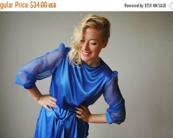ON SALE 1970s Liquid Cobalt Dress~Size Extra Small