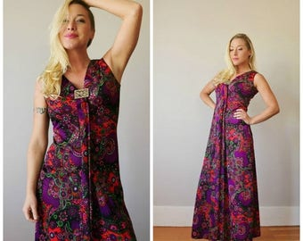 ON SALE 1960s Jeweled Floral Maxi Dress >>> Size Extra Small to Small