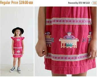 ANNIVERSARY SALE 1970s Guatemalan Embroidered Dress /// Size 3t to 5t