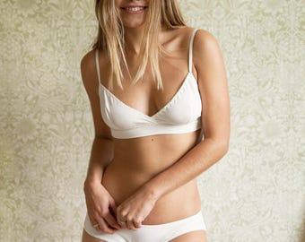 Organic cotton lingerie set- Bra & Panty, women Underwear, ethical lingerie, Honeymoon, bridal, gift for her, soft bra and panty