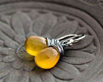 Yellow Chalcedony, Drop Earrings, Chalcedony Earrings, Lemon Yellow, Sunshine, Sterling Silver, PoleStar, Mustard, Saffron, Wire Wrapped