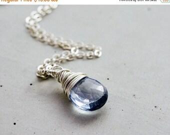 Blue Crystal Necklace, Denim Blue Quartz Pendant, Sterling Silver Pendant Necklace