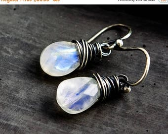 Moonstone Earrings, Drop Earrings, Rainbow Moonstone Gemstones,
