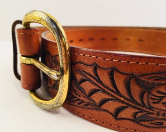 TOOLED LEATHER BELT Vintage hide hand tooled  Western Belt With  gold buckle cowboy hand-tooled