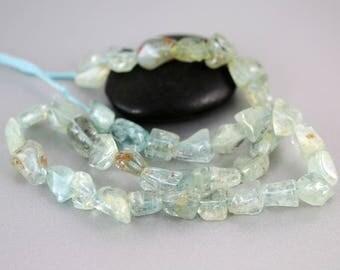 Aquamarine Gemstone Beads - Full Strand - Aquamarine Beads - Nuggets