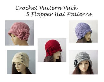 Crochet Pattern Pack, 5 Flapper Hat Crochet Patterns E-Book, 1920's Style Flapper Cloche Hats