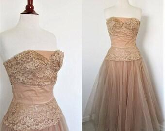 Emma Domb Vintage 1950s Latte Net & Lace Prom Dress,  Long Formal Full Skirt / Rockabilly Bombshell Pin Up Retro / small