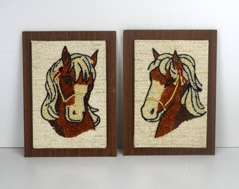 Vintage Gravel Art Pair of Horses, Pebble Art, Mid Century Craft, Little Girls Room Decor