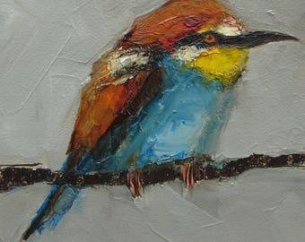 BEE EATER BIRD Original Art Colette Davis 4x4 Painting Oil