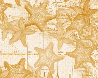 Beach Fabric Cotton Quilting High Tide Gold Starfish 42817-6 (1/2 yd) cuts Quilting Sewing Crafting Fabrics Material Quilts