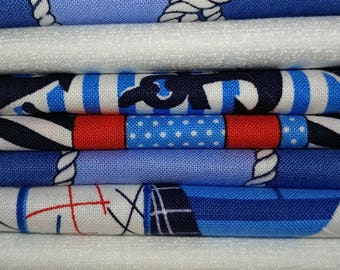 Fat Quarters Cabana Nautical 8 Pack Cotton Quilting Sewing Crafting Fabrics