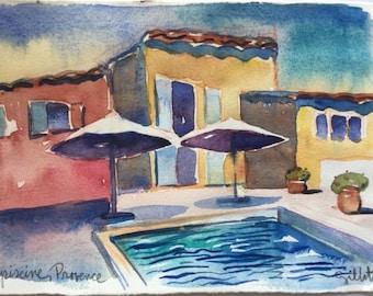 """Provencal pool, original watercolor 8 1/2"""" x 6"""""""
