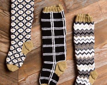 Christmas Stocking, Christmas Stocking Patterns, Christmas Stocking Design, Christmas Knitting, Black and white stocking