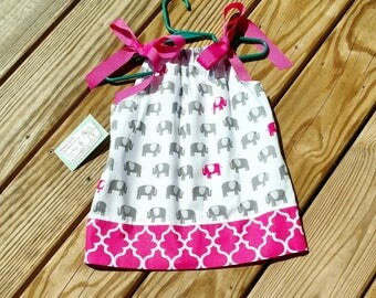 Elephant Dress - Pillowcase Dress - Elephants -First Birthday Dress - Pink Elephants  - Toddler Girl Dress  -  Sundress - Groovy Gurlz