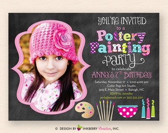 Pottery Painting Party Photo Invitation - Chalkboard Style with Pottery Bowl, Brushes, Palette and Paints