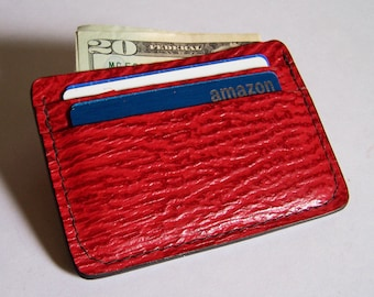 Bright Red Sharkskin Leather Wallet/Credit Card Case - Use for Credit Cards, Drivers License etc. - Genuine Bright Red Sharkskin