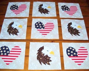 "Set of 9  American Flag Hearts with Eagles  6"" x 6""  Cotton Quilt Blocks"