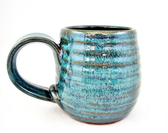 Handmade pottery mug, Ceramic mug, 16 oz. coffee mug in Teal green - In stock