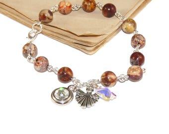 Sobriety Anniversary Gift, 12 Step Recovery Bracelet, Swarovski Crystal Birthstone Charm