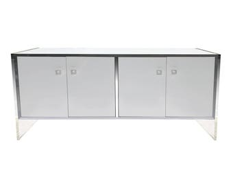 Lucite Credenza Buffet Cabinet Milo Baughman Style