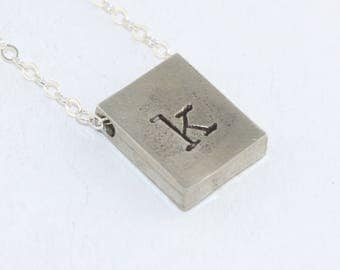 Initial Necklace - Silver Necklace - Rectangle Necklace - Personalized Necklace - Custom Necklace - Gift for Best Friend - Gift for Her