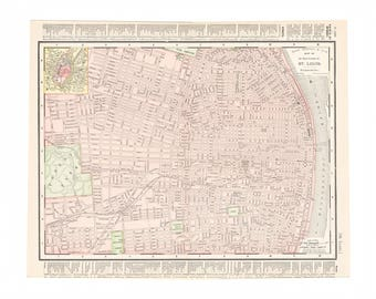 Antique Street Map Of St Louis Missouri From 1898 Home Reference Library Free