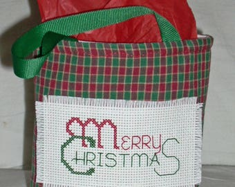 Merry Christmas Fabric Gift Bag with Counted Cross Design