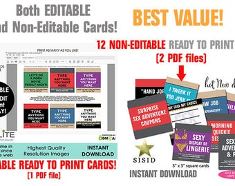 Printable Love Sex Coupons EDITABLE, Sexy Naughty Coupons, Instant Last Minute Gift, Date Night Gift Woman Man Her Him, INSTANT DOWNLOAD
