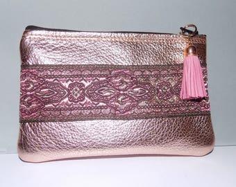 Metallic Rose Gold LEATHER Clutch w/Jacquard Trim,Fabric Lined