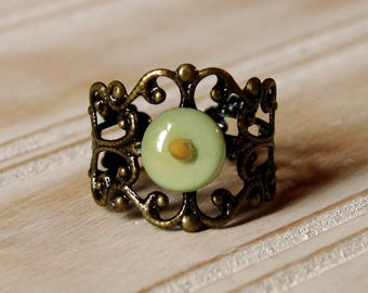 Mustard Seed Ring - Antique Brass Filigree Adjustable Ring - Adjustable Mustard Seed Ring - Mustard Seed Jewelry - Mint Green Brass Ring