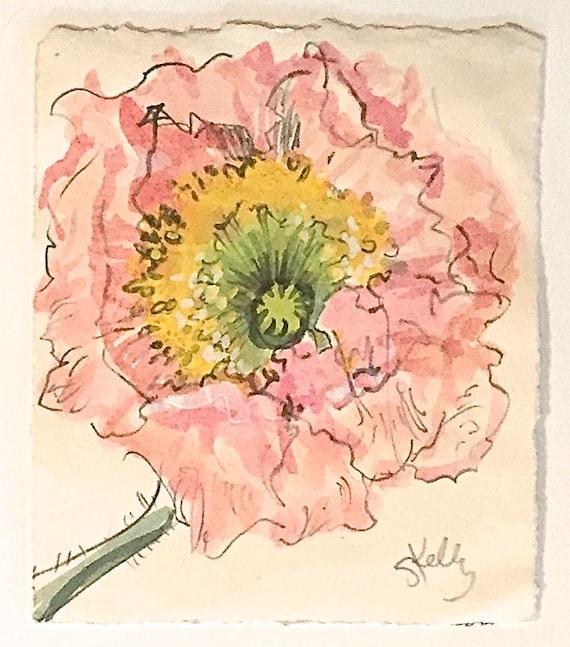 Watercolor painting-Peony Sketch -original botanical study