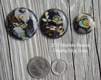 Cosmos ....  glass cabochons ... artsy, handmade glass designer cabochons by Mikelene Growing Edge Glass