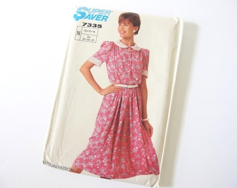 UNCUT Vintage 1980's Dress with Lace Collar Sewing Pattern, Simplicity 7335,  Bust 32.5 to 36 Inches