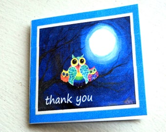 """5 Mini Note Cards, 2x2"""", Owl Family on a Branch, Thank You, Blank Inside, Takuniquedesigns"""