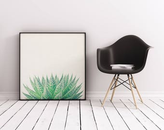 Plant Print, Botanical Art, Gift for Gardener, Minimal Kitchen Wall Decor - Lace Aloe