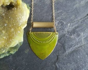 Olive Green Brass Small Shield Pendant, Hand Patinaed, Tribal, Bohemian, Boho, Spring Green, Pea Green, Chartreuse