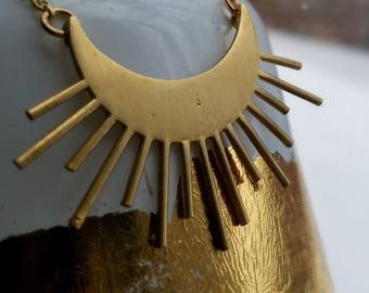 Golden Moon Rays Pendant, Gold Brass Sun and Moon, Celestial Necklace