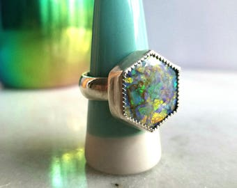 Hexagon Monarch Opal Ring,  Green, Orange Flash, Wide Band, Sterling Silver, Size 7.5, Imperfect, Irregular, Seconds