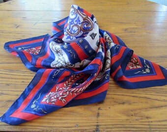 Vintage Silk Scarf, Harness Racing, Red, White & Blue, Horse and Jockey, Horse Scarf, Patriotic Scarf, Vintage Scarf, Equine Scarf, Horses