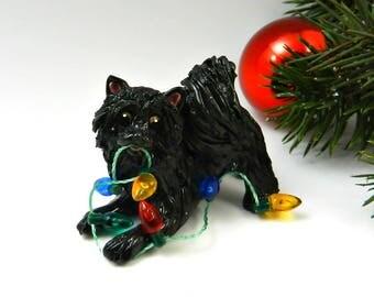 Pomeranian Black Christmas Ornament Figurine Lights Porcelain