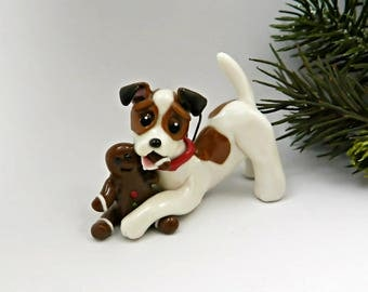 Jack Russell Terrier Christmas Ornament Figurine Gingerbread Man Porcelain
