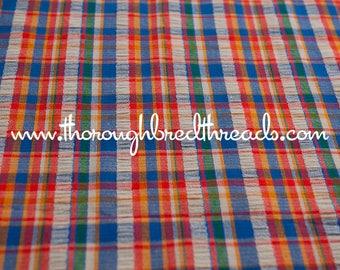 Fun Bright Plaid - Vintage Fabric Multi-Colored Checked Colorful