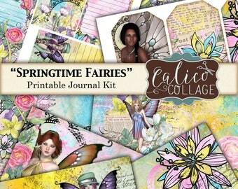 Printable, Journal Kit, Springtime Fairies, Junk Journal Kit, Fairy Ephemera, Digital Paper, Digital Journal Kit, Ephemera Pack, Fairy