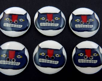 "6 Primitive Cat Buttons.  Handmade By Me. Novelty or Craft Supplies. 3/4"" or 20 mm. Washable, Dryer Safe."