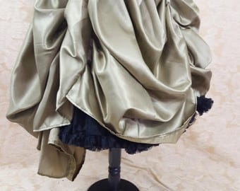 Prototype Chartreuse Pear Green Front And Back Swagged Steampunk Midi Length Bustle Skirt-One Size Fits All