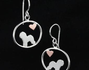 Bichon Frise Dangle Earrings with Heart